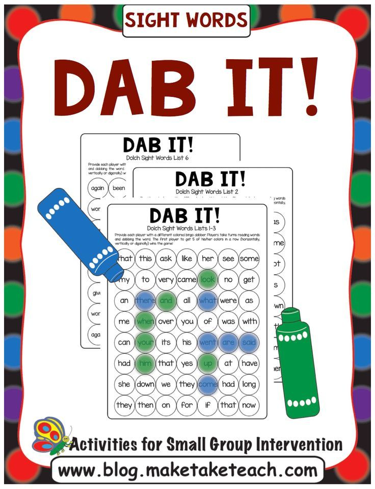 Dab It! Game Boards for Sight Words and Phonics Skills | Pinterest