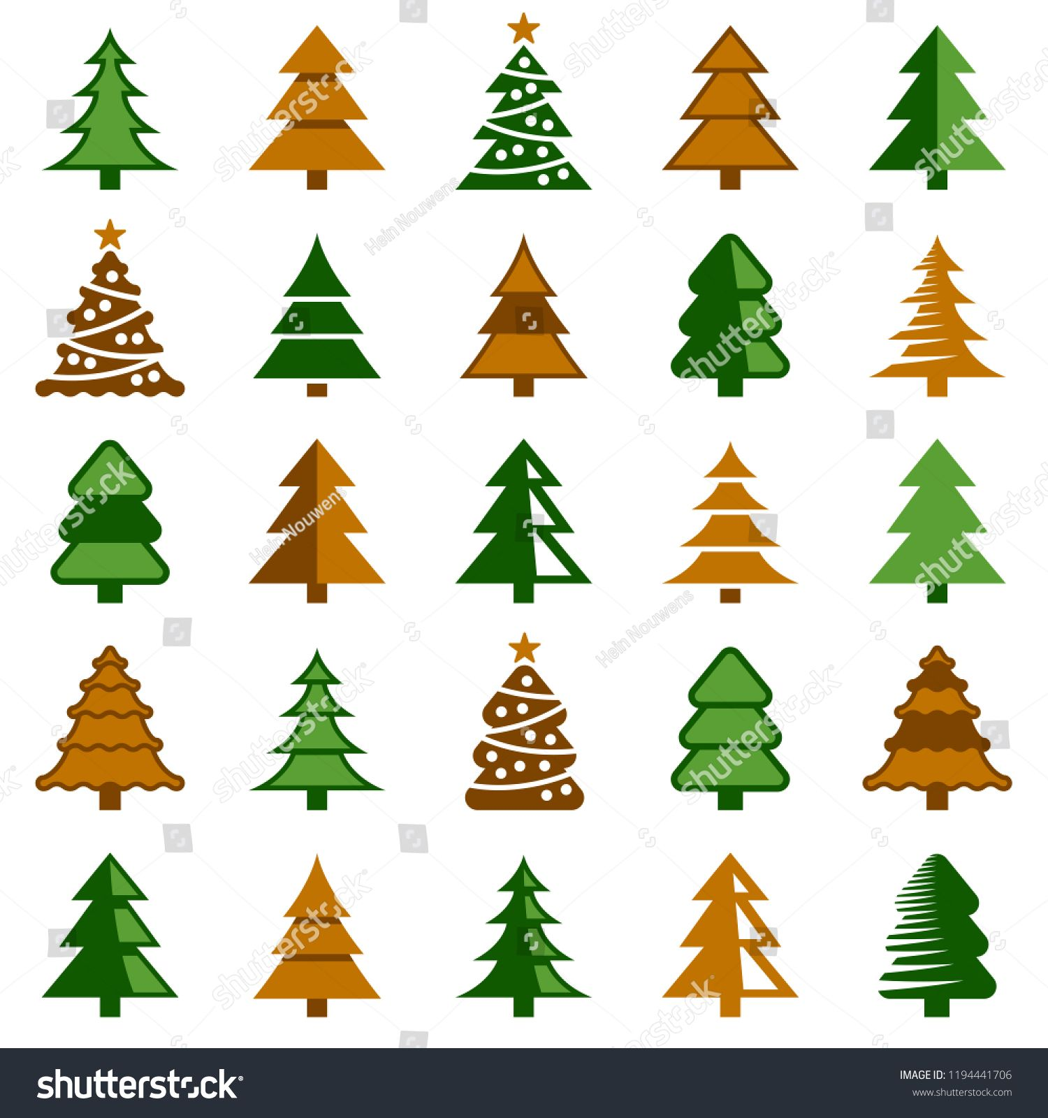 Christmas Tree Icon Collection Vector Color Illustration Icon Tree Christmas Collection Tree Icon Flower Icons Icon Collection