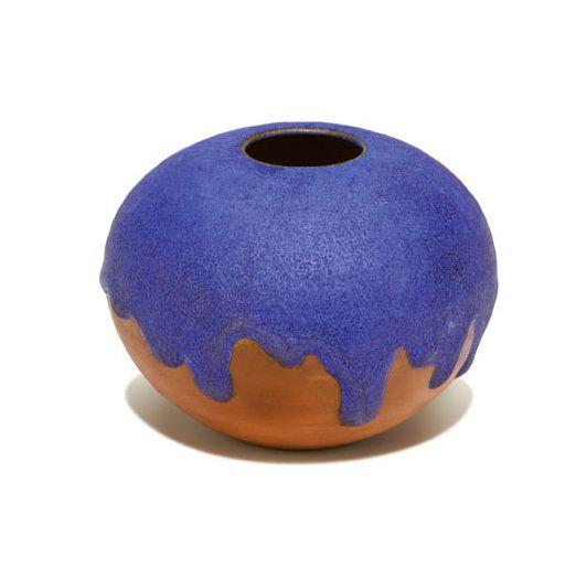 Gertrud Otto Natzler Spherical Vase Closed Form Terra Cotta With