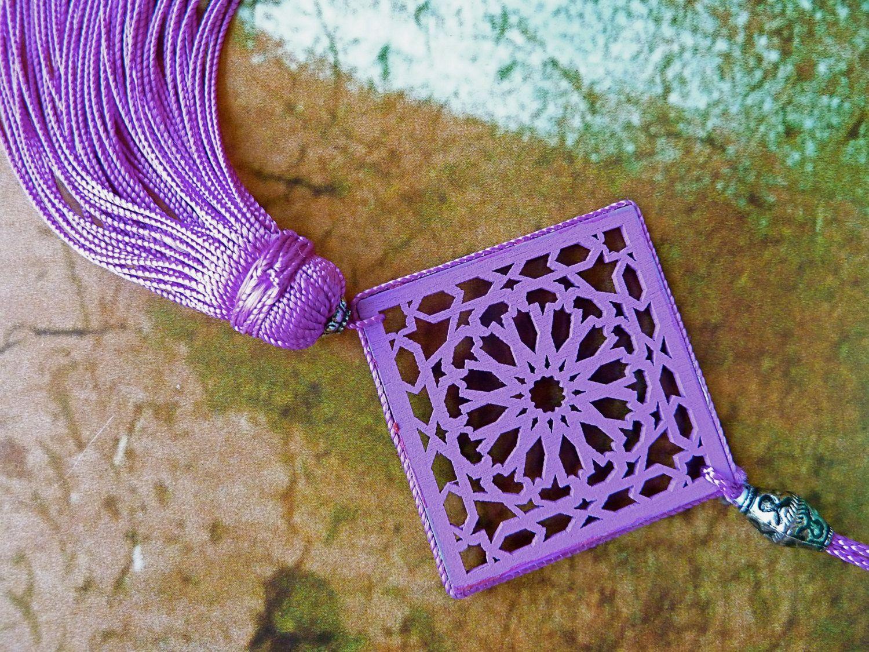 Moroccan+art+silk+tassel+square++filigree+wood+by+HEARTtoHEARTart,+€5.00