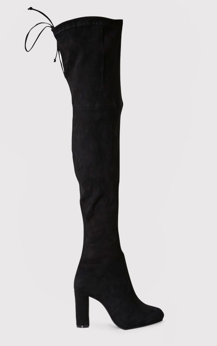 bf6bb1894df Bess Black Faux Suede Heel Thigh Boots