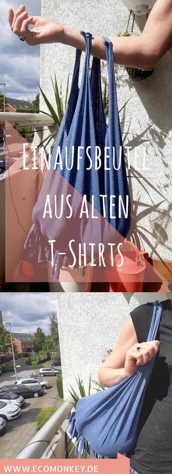 DIY T-Shirt Einkaufsbeutel zum umhängen in 15 Minuten #oldtshirtsandsuch