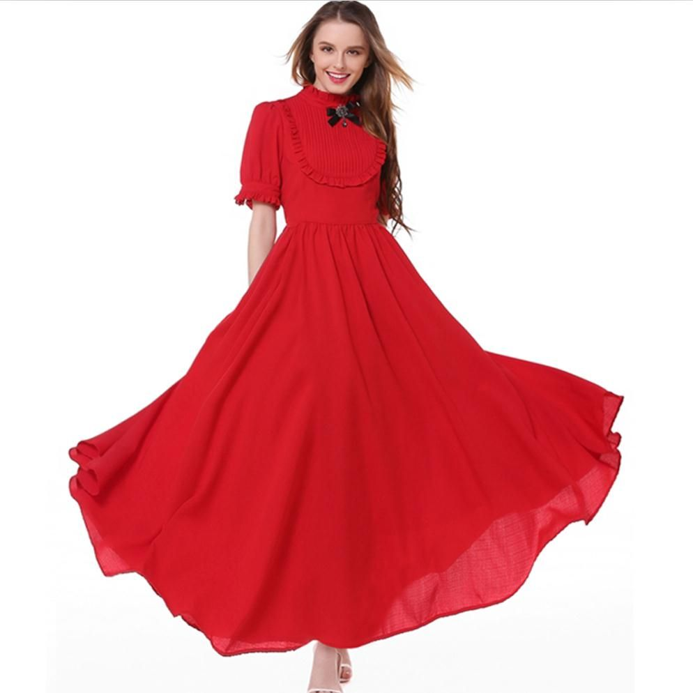 Quality empire short sleeve long dresses chiffon vintage solid