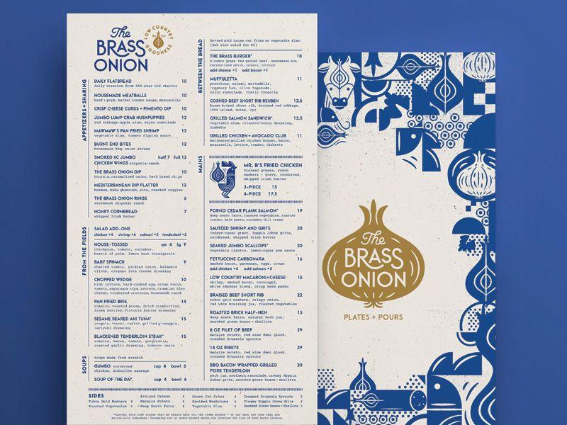 The Brass Onion Menu Crop Restaurant Branding Menu Design