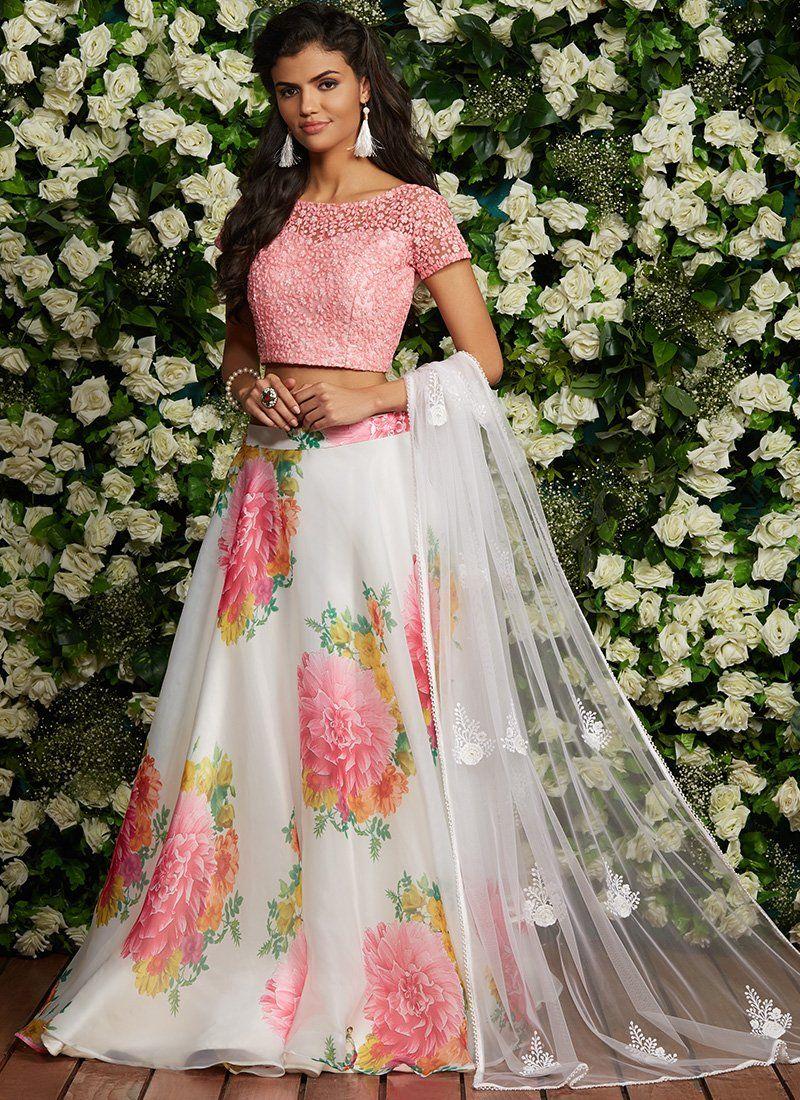 bb1cfa4130d7c Pink and White Floral Organza Lehenga – Lashkaraa