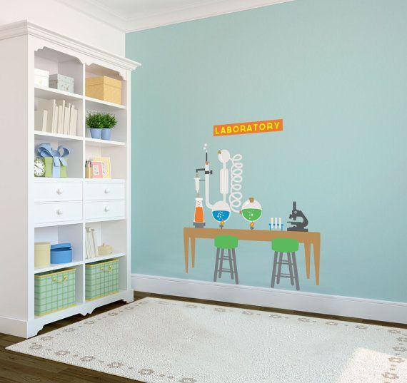 Kids Scientist Lab Playroom Backdrop Wall Decal Custom Vinyl Art - Custom vinyl wall decals for classrooms