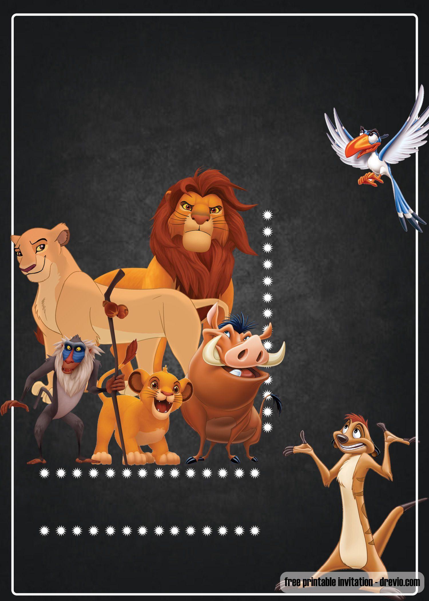 FREE Printable Lion King Invitation Template  Lion king birthday