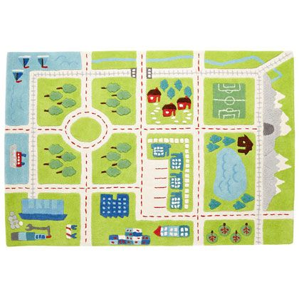Kids Rugs Town Activity Rug Features Roads Trees Buildings And Lakes In Interactive