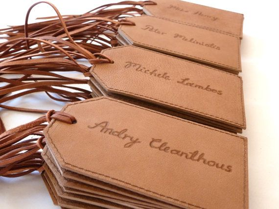 25 Personalised Leather Luggage Tags Free Shipping