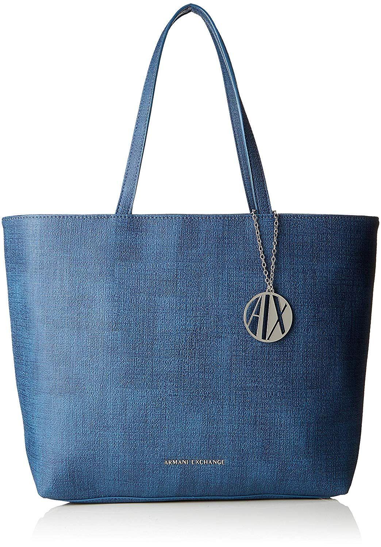 Armani exchange damen texturized shoulder bag tote blau