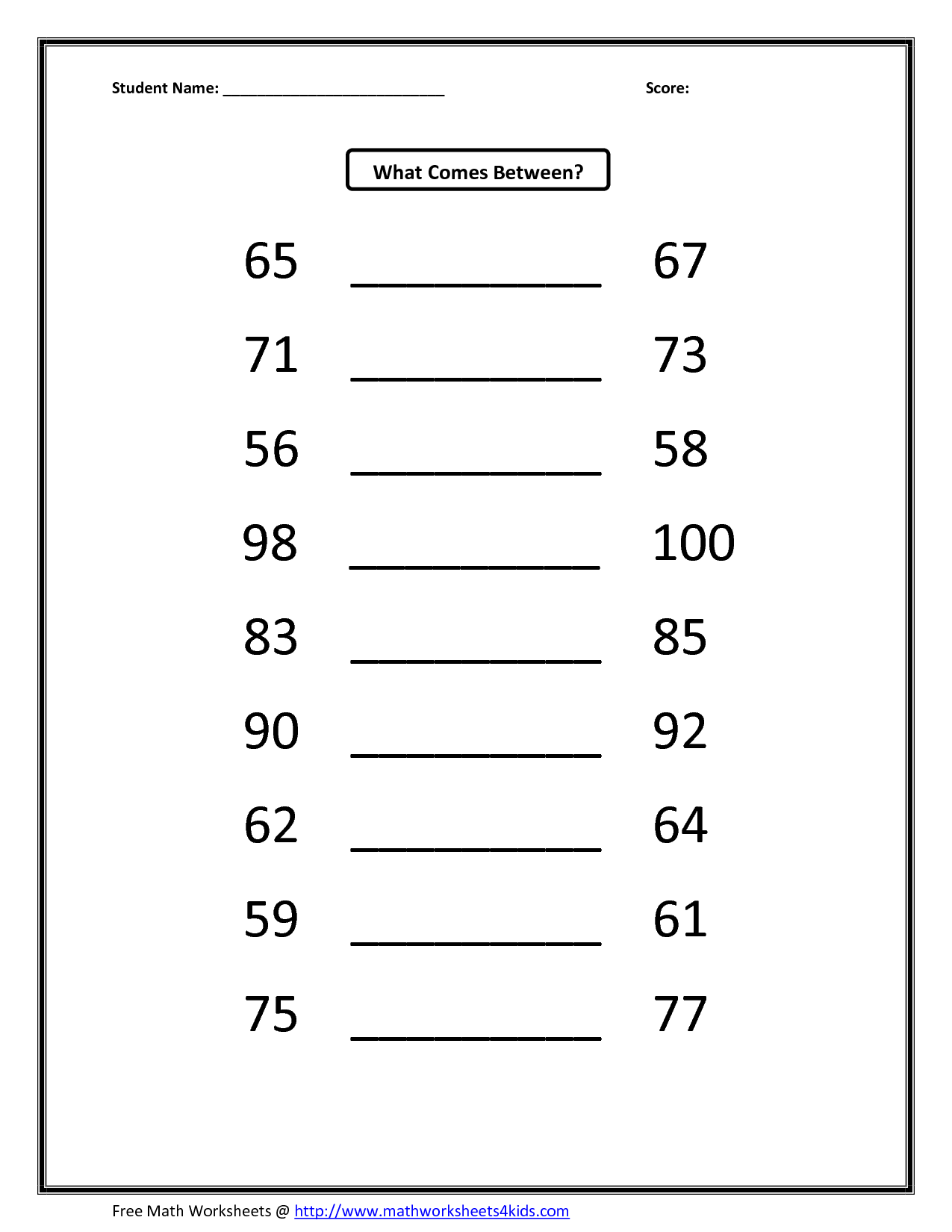 Kumon Math Worksheets Answers