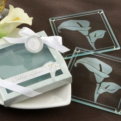 Calla Lilies Frosted Glass Coasters Wedding Favor Wedding Favors Wedding Coasters Favors Calla Lily Wedding Elegant Wedding Favors