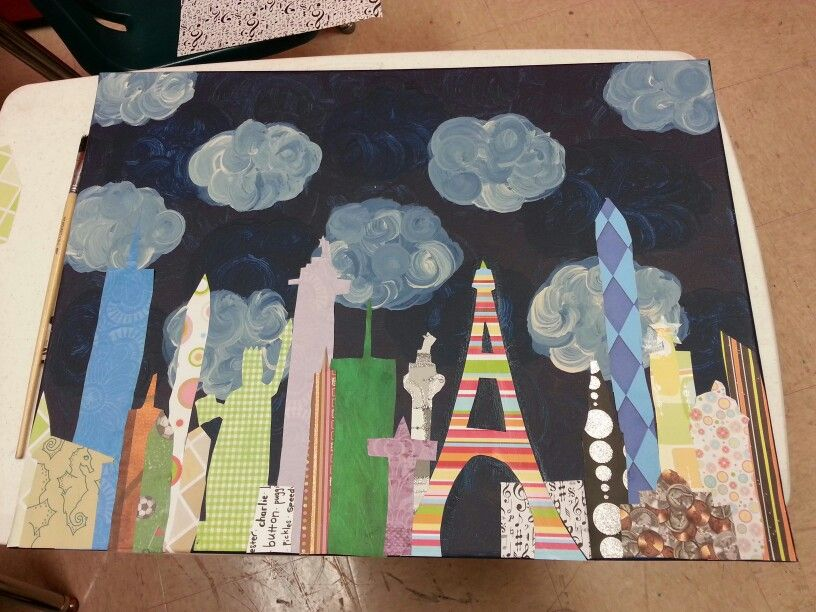 Another city scape with 5th graders! Scrapbook paper this time.