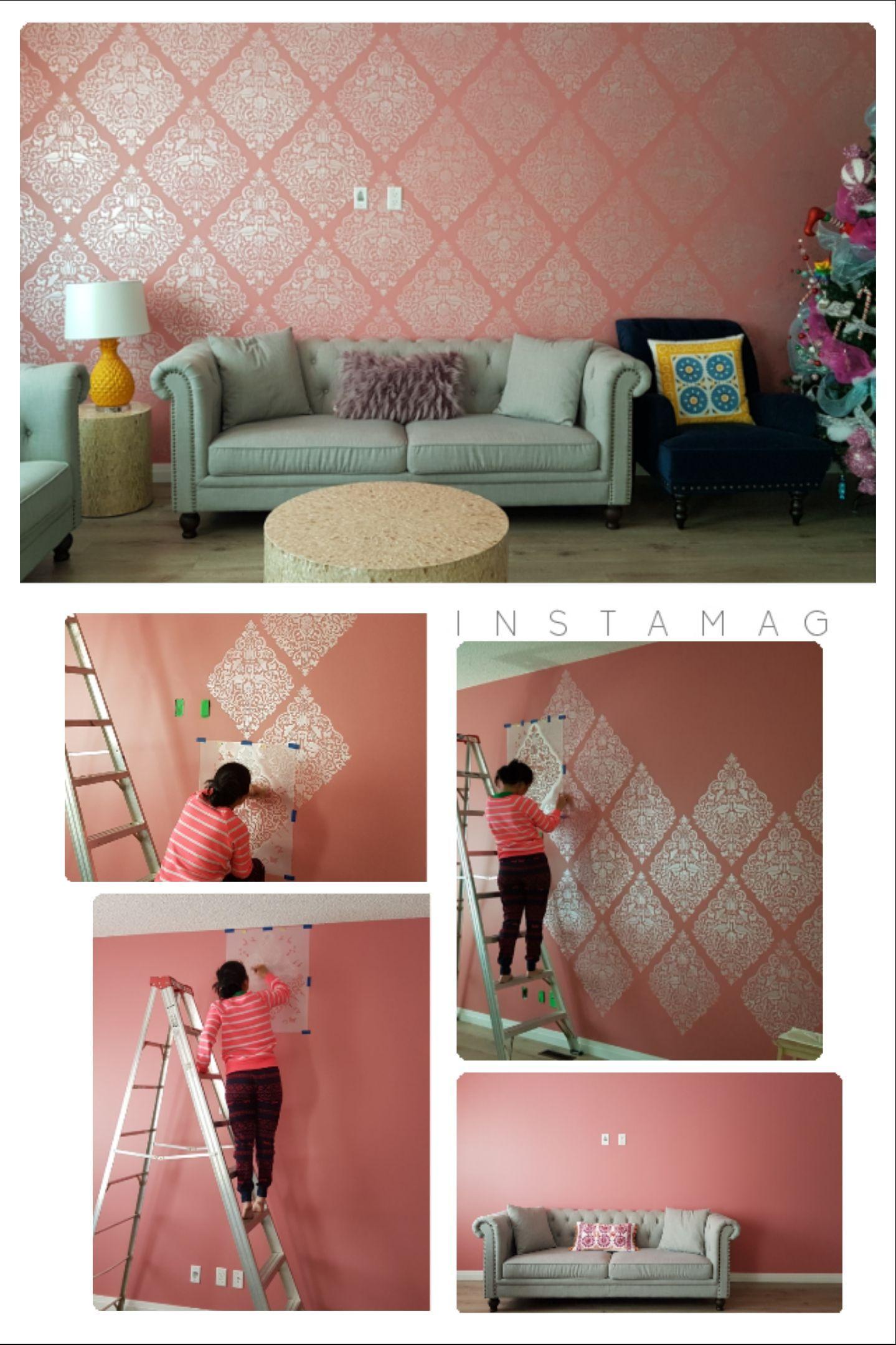 Love Birds Lace Damask Stencil In 2020 Damask Wallpaper Living Room Bedroom Wall Designs Wallpaper Living Room