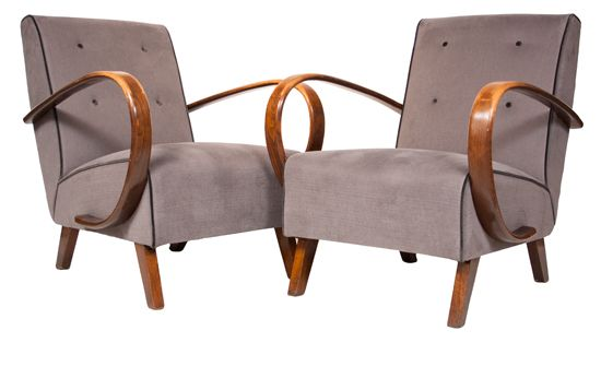 Pair of Bentwood Armchairs by Jindrich Halabala