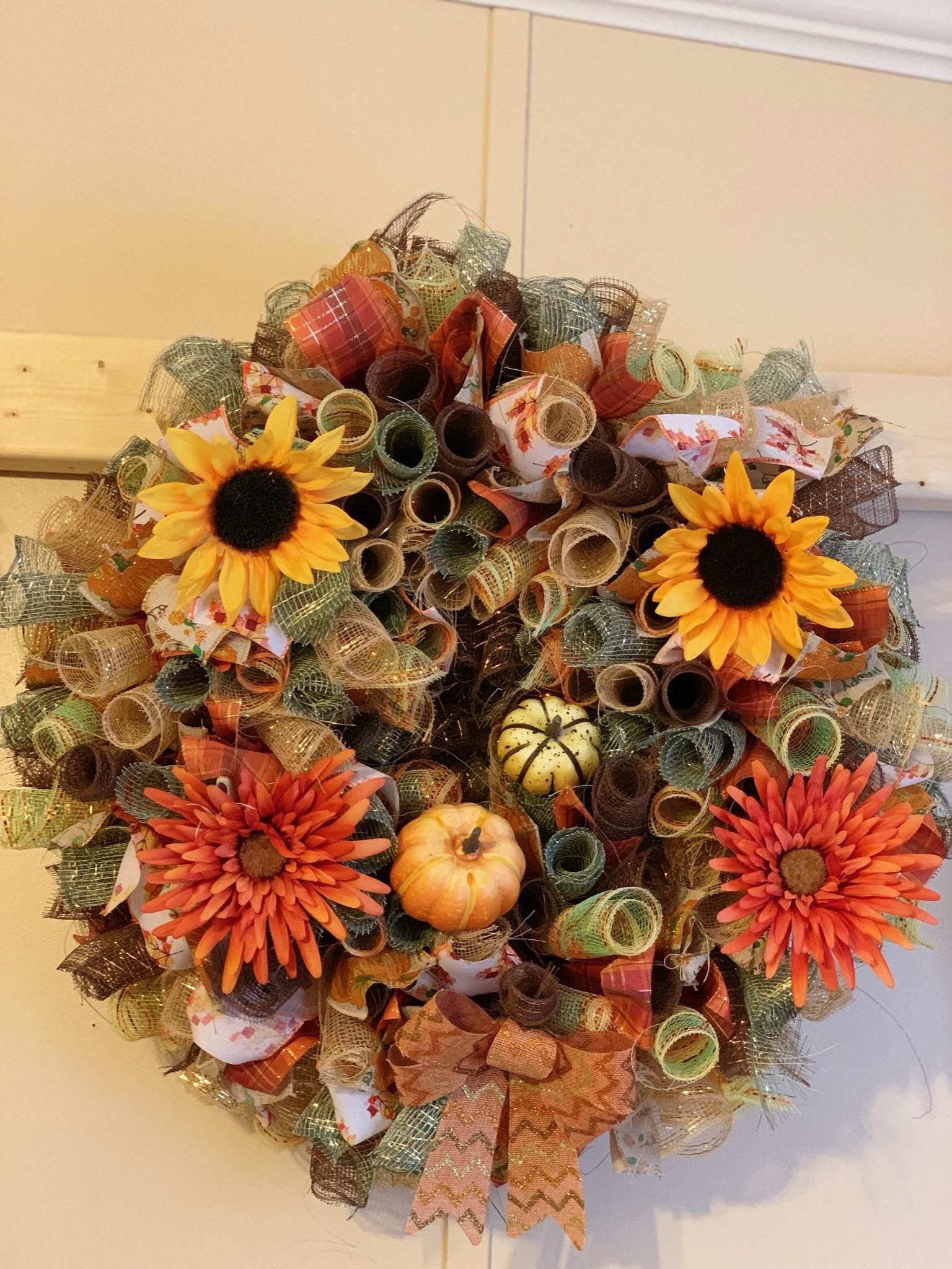 Photo of Fall Sunflower Wreath, Fall Wreath, Sunflower Wreath, Harvest Wreath, Thankful Wreath, Pumpkin Wreath, Front Door Wreath, Door Decor