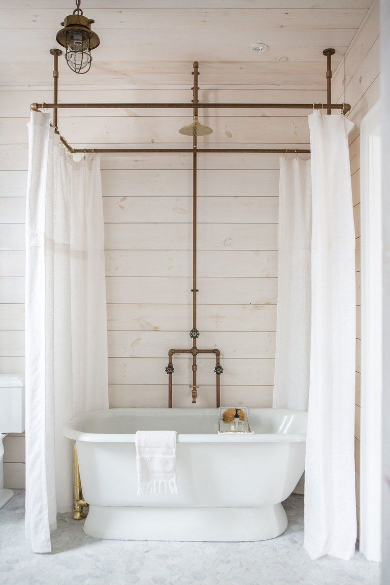 An Incredibly Curated One Bedroom Getaway We Want To Live In Full Time Clawfoot Tub Shower Diy Shower Curtain Tub Shower Combo