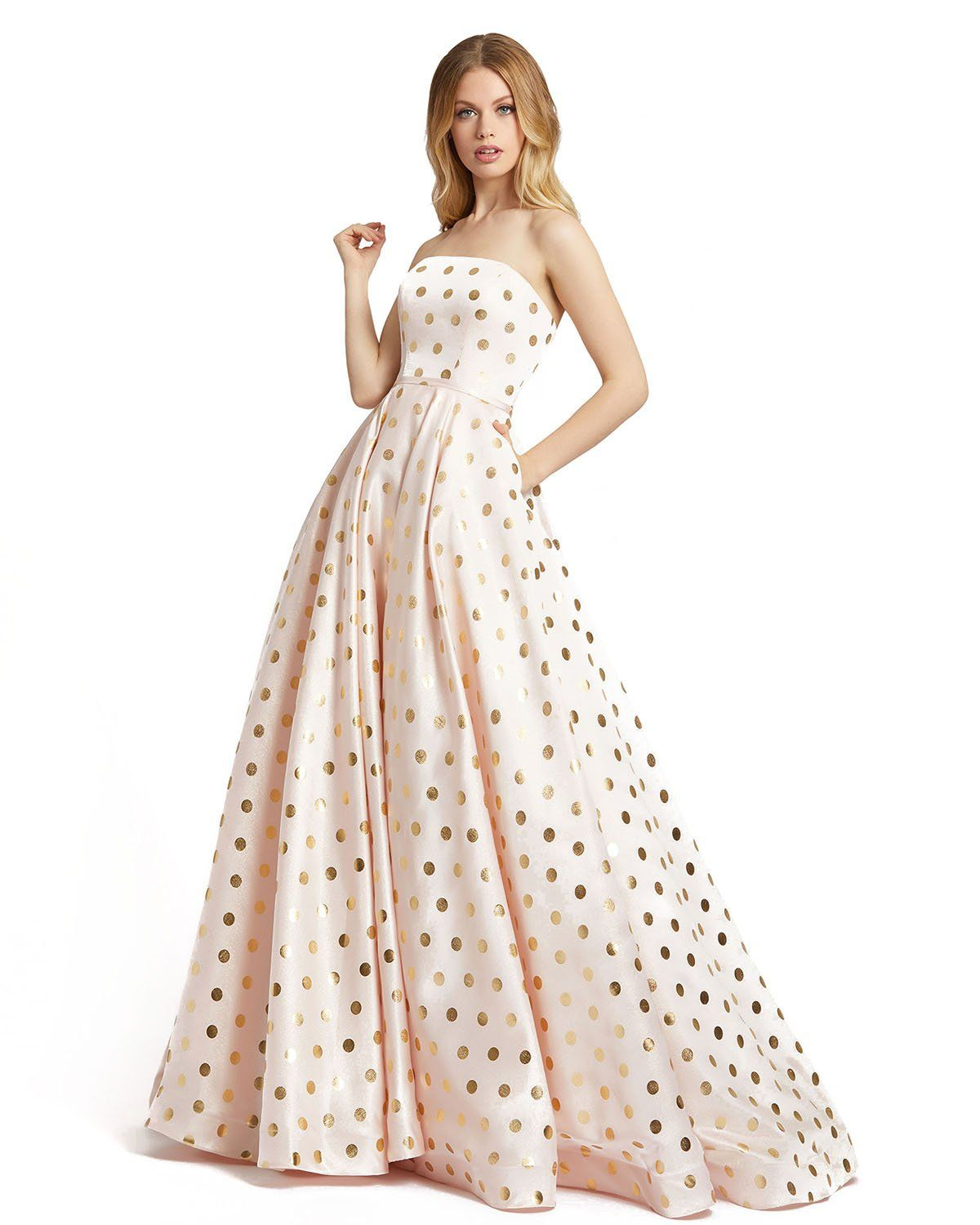 Light Pink Gown With Gold Polka Dots In 2021 Mac Duggal Prom Dresses Ball Gowns Gowns