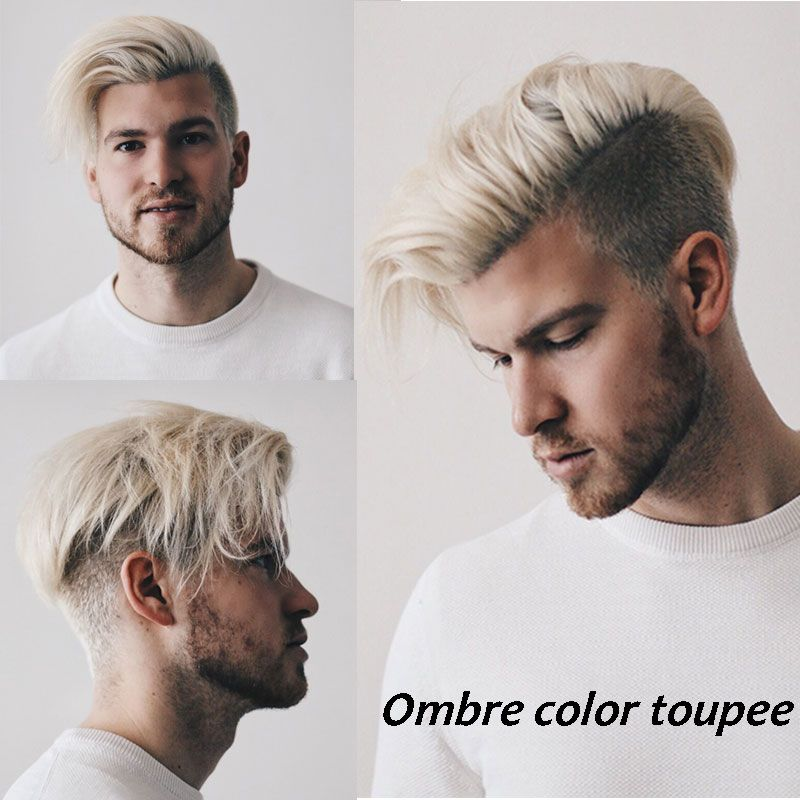 Brown Roots 60 Platinum Blonde Ombre Human Hair Mens Toupee Eseewigs With Images Platinum Blonde Hair Men Men Hair Highlights Platinum Blonde Ombre