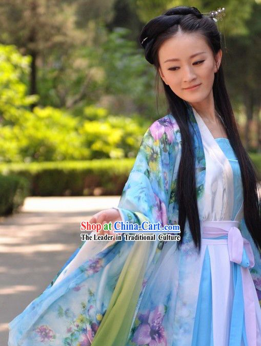 Super Ancient Chinese Hanfu Style Flowery Clothes For Women Hairstyles For Women Draintrainus