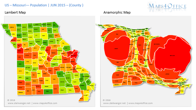 USA State Missouri Map Population County Heatmap MAPS Pinterest - Missouri on map of usa