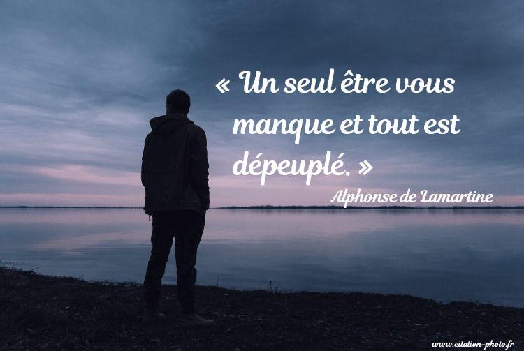 Un Seul être Vous Manque Et Tout Est Dépeuplé Alphonse De