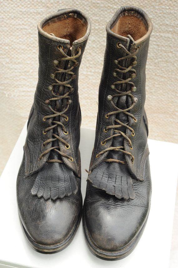 07d956546a9d6 Vintage Pebbled Leather Mens Lace Up Roper Boots, Mens 12 / ITEM135 ...
