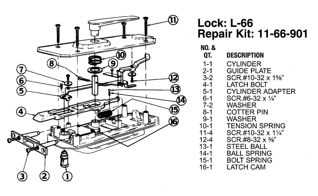 Bargman L-66 Door Lock Exploded View | Vintage Trailer Talk