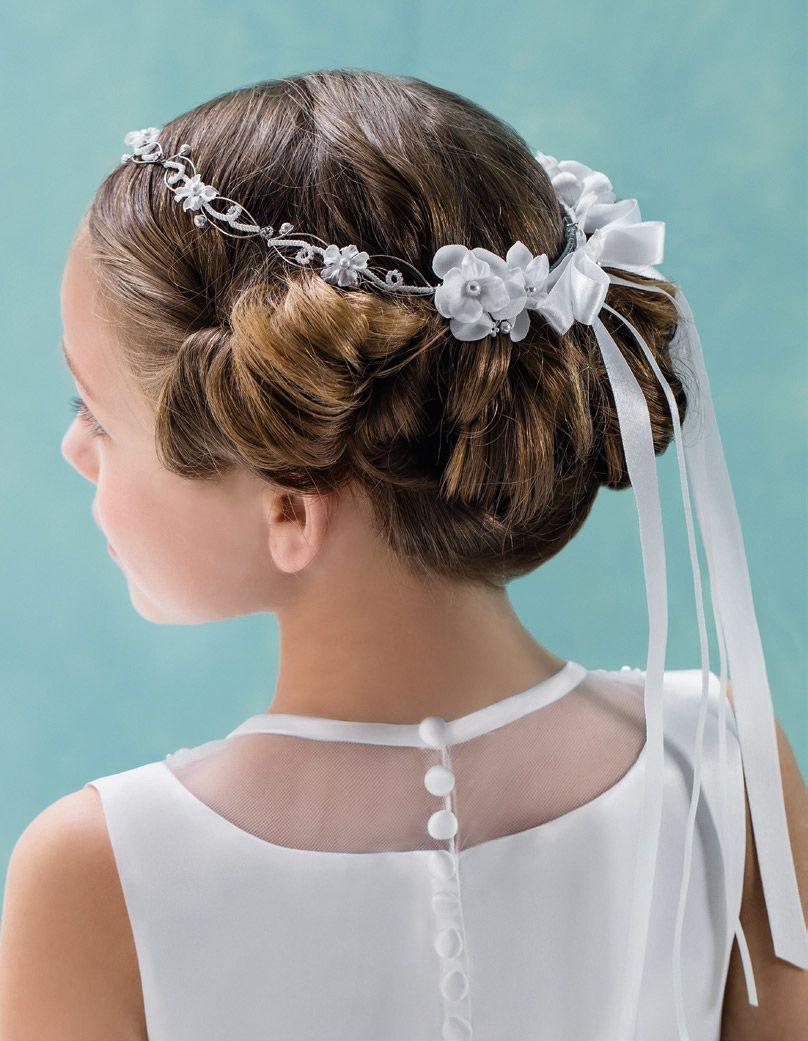 Mädchen Haarreifen Haarschmuck Kopfschmuck Hochzeit Blumenmädchen Taufe Weiß