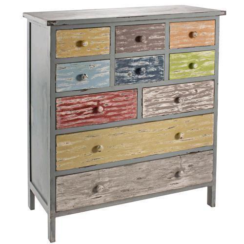 Cassettiera shabby chic in legno con verniciatura multicolore ...
