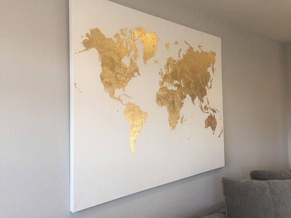 Beautiful gold leaf world map canvas painting extra large bodicky beautiful gold leaf world map canvas painting extra large gumiabroncs Choice Image