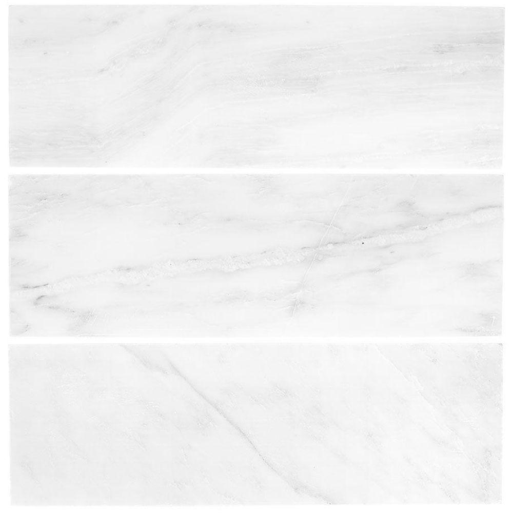 Jeffrey Court Carrara White 4 In X 12 In Honed Marble Wall Tile 1 Sq Ft Pack 99786 The Home Depot In 2020 Marble Wall Tiles Wall Tiles Marble Wall