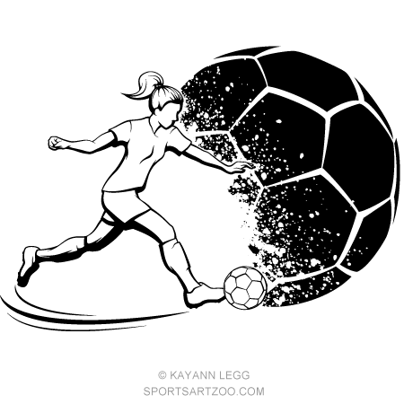 Soccer Girl Kicking With Grunge Soccer Ball Background Sportsartzoo Soccer Girl Soccer Art Soccer Tattoos