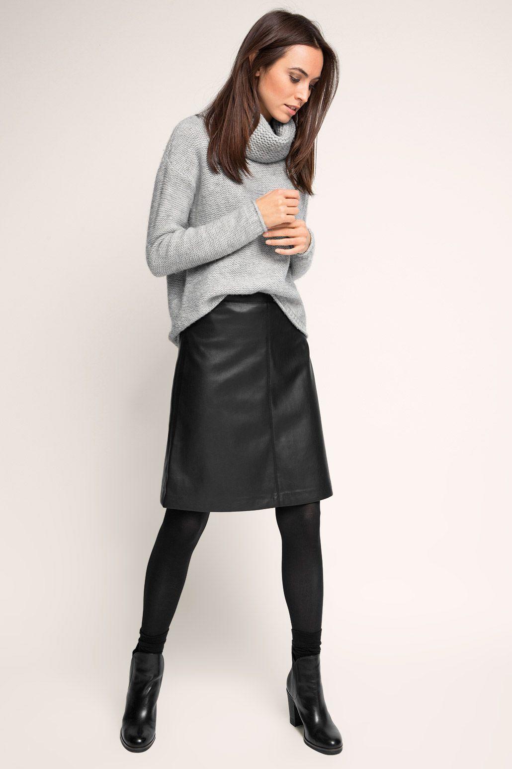 b0e43d015875 Esprit - Ausgestellter Rock im Leder-Look im Online Shop kaufen ...