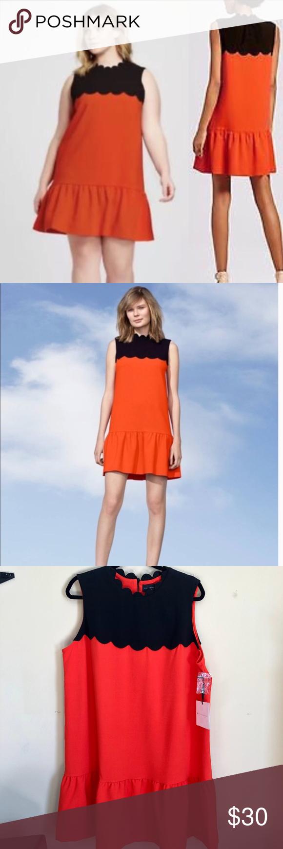 Nwt Victoria Beckham X Target Orange Black Dress Black Scallop Dress Dresses Target Dresses [ 1740 x 580 Pixel ]
