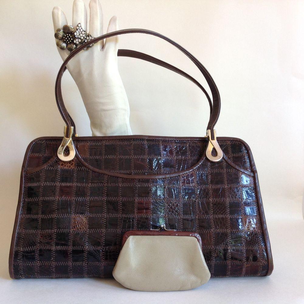 6b523e5485 Jane Shilton Brown Turtle Skin 1960s Vintage Handbag Buff Leather Lining    Purse