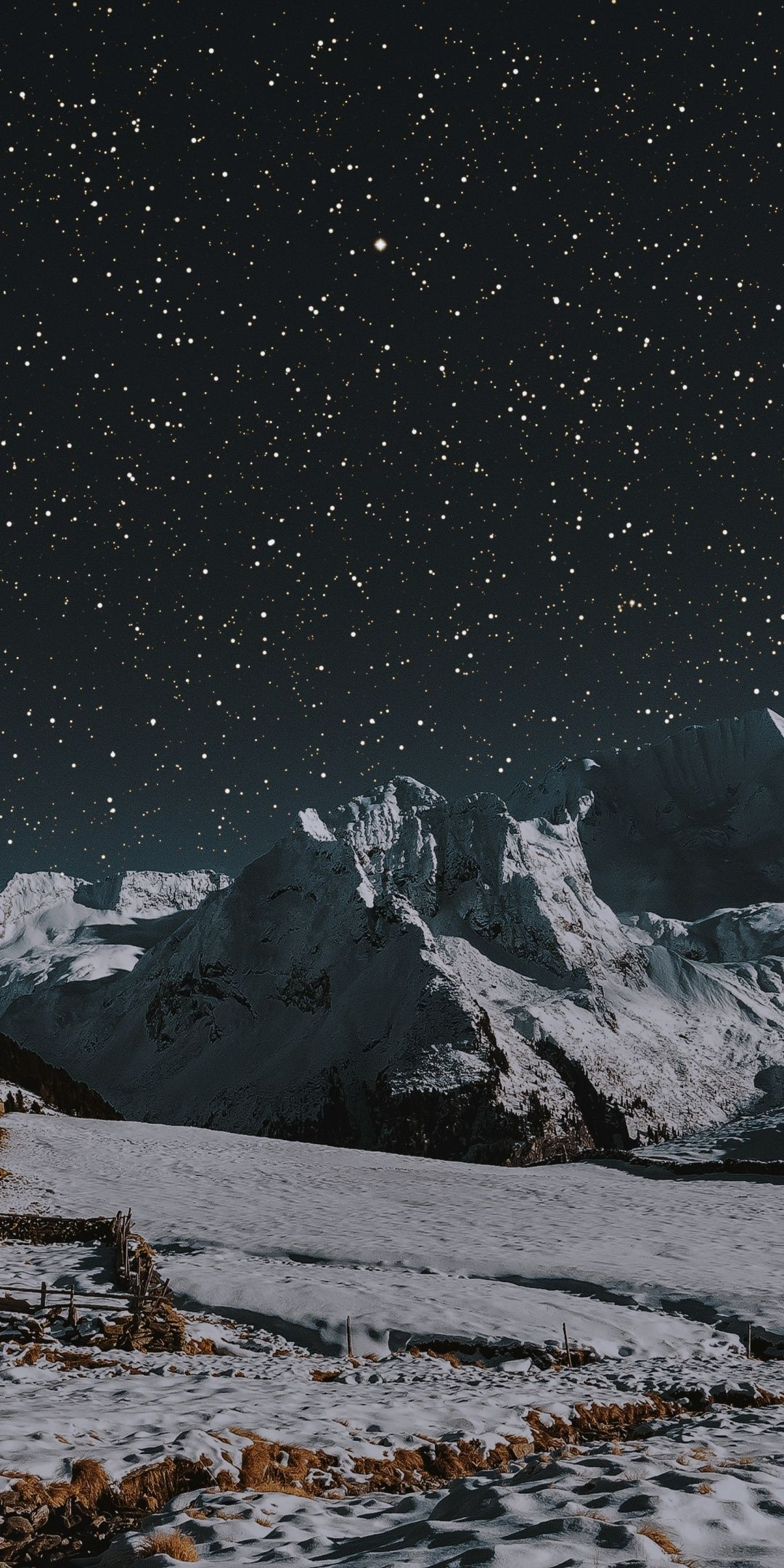 House Winter Landscape Mountains Night 1080x2160 Wallpaper Landscape Winter Landscape Wallpaper