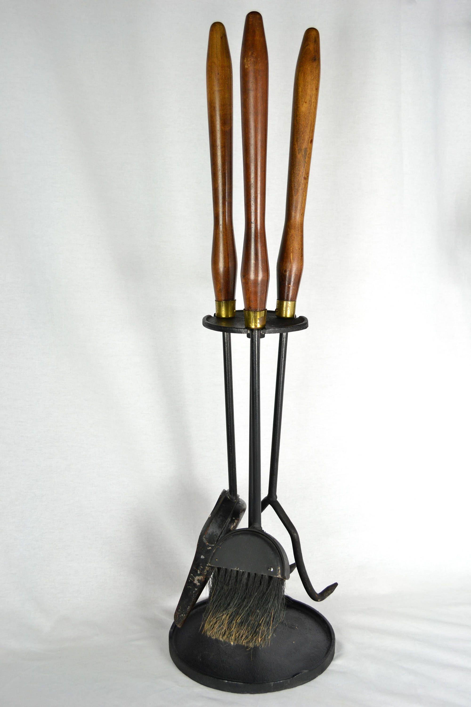 Mid Century Modern Walnut Cast Iron Fireplace Tool Set By