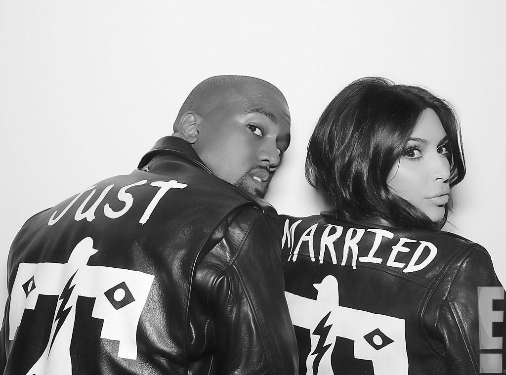 "Kim and Kanye in ""Just Married"" jackets."