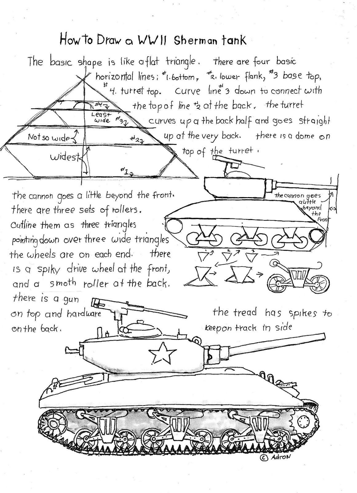 How To Draw A WWII Sherman Tank Worksheet read the lesson at the – Wwii Worksheets