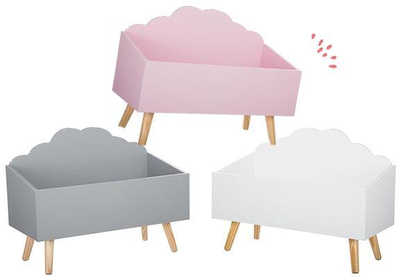 127156 (2) coffre a jouet nuage enfant original blanc gris rose ...