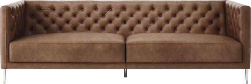 Savile Dark Saddle Brown Leather Tufted Sofa | Larry\'s house ...