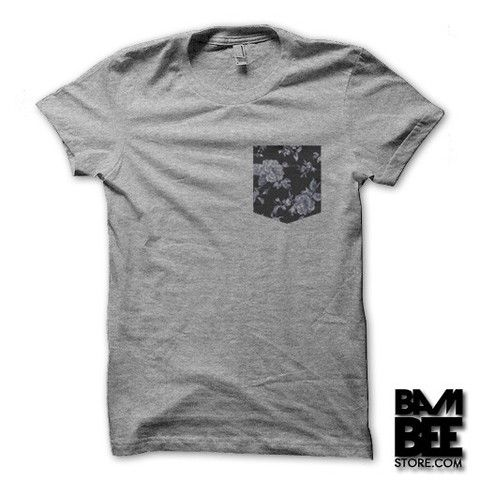 Bambee Store - Vintage Floral Pocket T-shirt on Grey