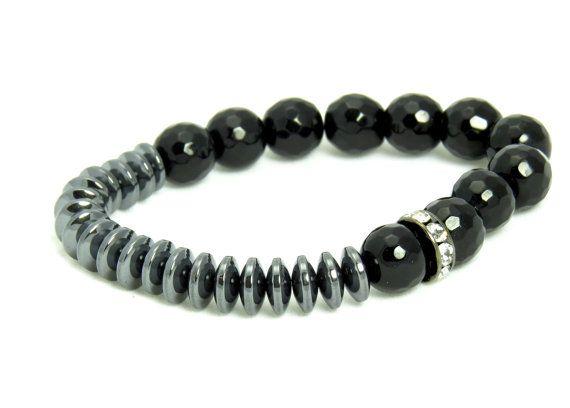 Hey, I found this really awesome Etsy listing at https://www.etsy.com/listing/180673831/hematite-black-onyx-beaded-bracelet