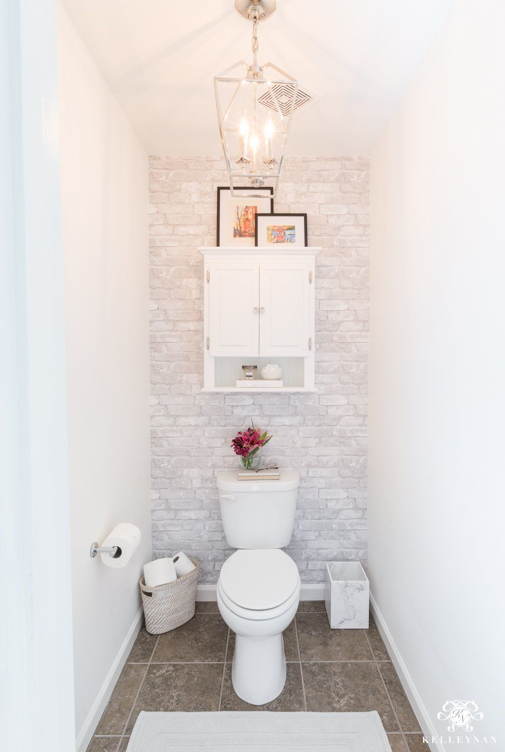 Toilet Room Makeover Reveal And Clever Bathroom Storage Kelley Nan Toilet Room Decor Clever Bathroom Storage Small Bathroom Remodel