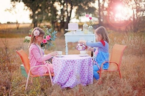 tea party.  Love the idea of a buffet in the background!