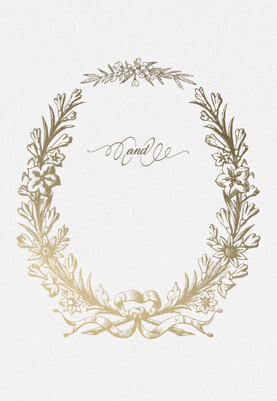 Golden Wreath Wedding Invitation Template Free Greetings