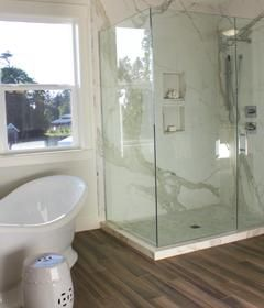Porcelain Thin Slab  Calacata Marble Look Without The Durabilty, Stain,  Seal Issues. Shower Walls: ...