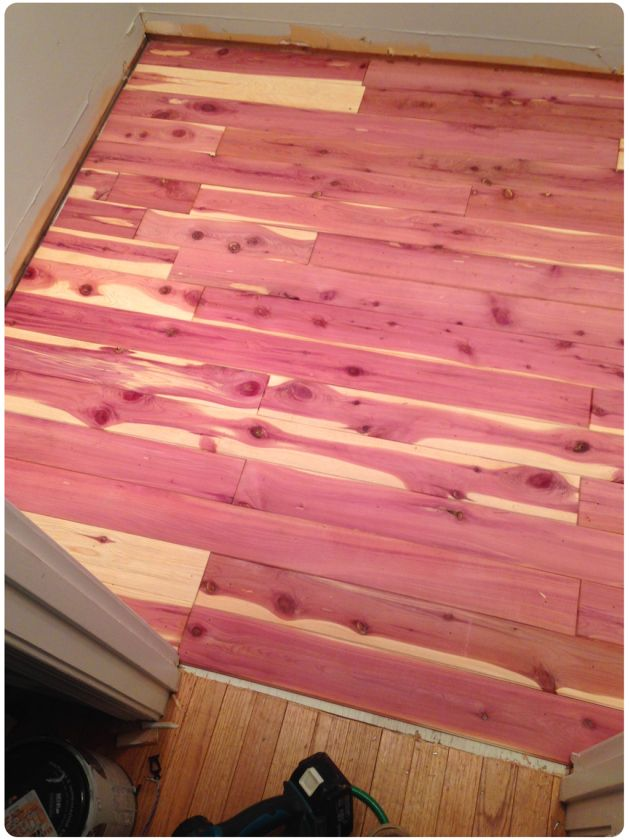How To Install A DIY Cedar Plank Floor In Custom Closet