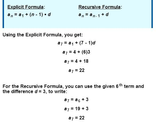 Sequence Formulas  Explicit Versus Recursive  Math Integrated